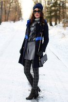 gray Dolce & Gabbana bag - navy Moschino coat - navy no name hat