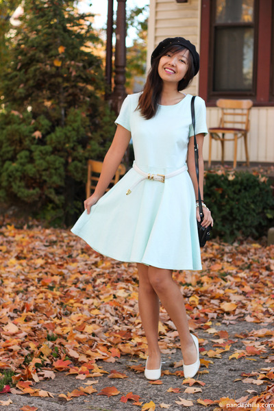 aquamarine H&M dress - black beret hat