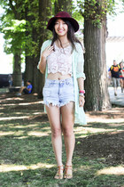 maroon floppy wool sun H&M hat - light blue DivaNy shorts - white Forever 21 top