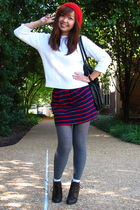 white Ralph Lauren Petite sweater - blue Forever 21 skirt - gray unknown tights