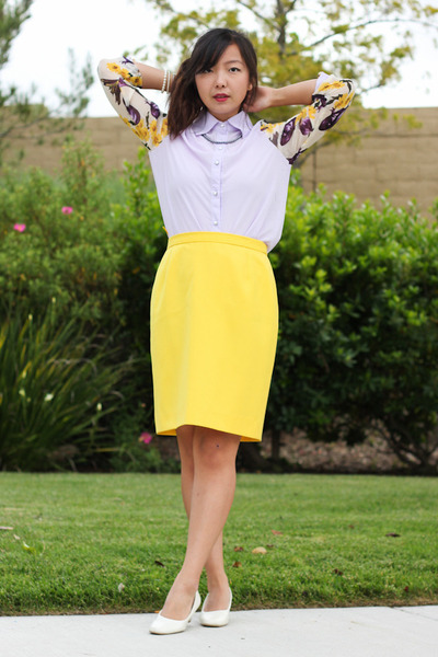 yellow pencil Thrifted Escada skirt - light purple Chicwish top - white pumps