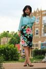 Light-blue-thrifted-top-black-skirt-tan-pumps-gold-accessories