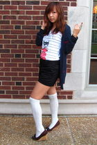white Delias t-shirt - blue Forever 21 cardigan - black H&M shorts - brown Ameri