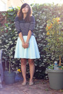 Light-blue-mint-dress-navy-striped-sweater