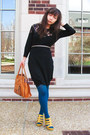Black-lace-h-m-dress-teal-taiwanese-brand-tights-camel-leather-satchel-thrif