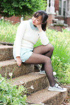 black sheer tights - ivory sweater - light blue shorts - light blue top