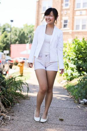 white ann taylor blazer - white bag - white shorts - white heels