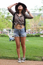Maroon-wool-fedora-forever-21-hat-sky-blue-ripped-denim-diy-shorts