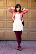 pink H&M blazer - light pink lace shoulder shirt - maroon burgundy tights