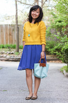 mustard sweater - blue dress - light blue bag