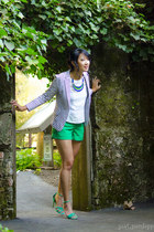 green trouser Express shorts - blue maritime JCrew blazer