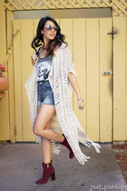 cream fringe abercrombie and fitch cardigan