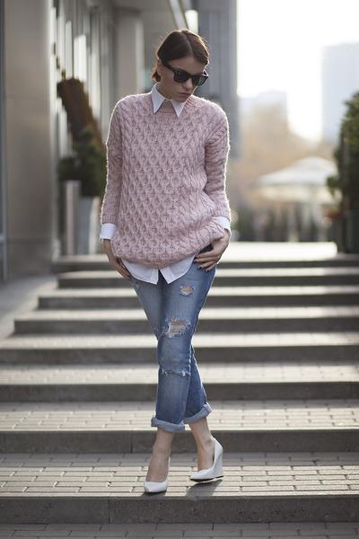 Zara sweater - second hand jeans - second hand shirt - Mango flats