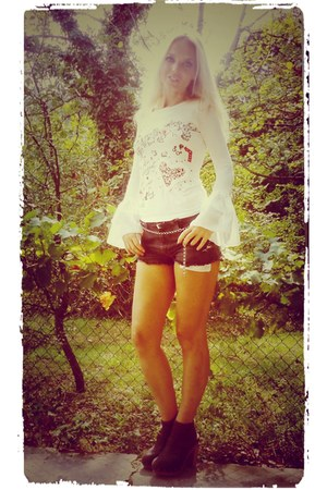 romantic shirt - denim shorts Levis shorts - Topshop clogs