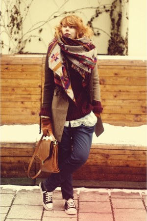 H&M scarf - brown asos coat - navy Zara pants - crimson H&M cardigan