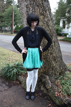Forever 21 skirt - delias shoes - black Forever 21 sweater