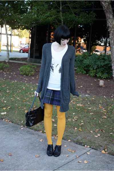 tights - skirt - t-shirt - sweater - shoes