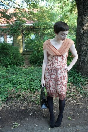 vintage 40s dress - Target tights - Chinese Laundry shoes - vintage purse