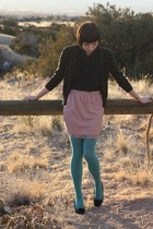 Urban Outfitters tights - thrifted cardigan - Target skirt - H&M flats - Forever