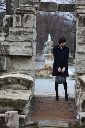 Etsy dress - vintage thrifted coat - vintage thrifted bag - Oxford heels - Etsy 