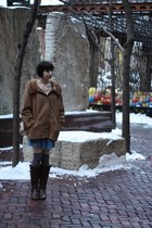 vintage boots - Dress dress - vintage coat - H&M tights - Sock Dreams socks - Et