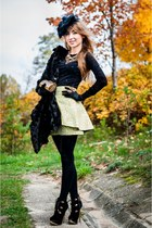 black Centro boots - black H&M hat - black TK Maxx cape