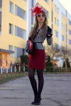 red Stradivarius skirt - black Zara blouse