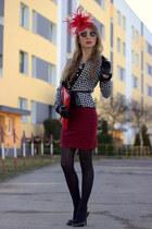 red Stradivarius skirt - black Zara blouse