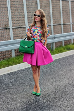 hot pink Mohito skirt - white Zara glasses