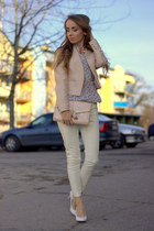 light pink H&M jacket - light pink H&M bag - off white reserved pants
