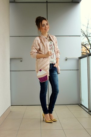 light pink Stradivarius jacket - hot pink Mohito bag - mustard Zara heels