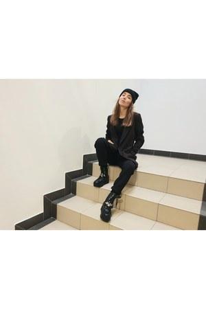 black H&M jacket - black Bershka pants