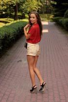 black Parfois bag - gold BikBok shorts