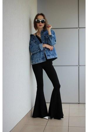 sky blue pull&bear jeans - black Bershka pants