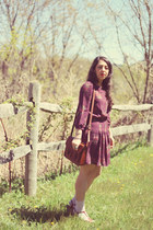 magenta Urban Outfitters dress - brown H&M bag
