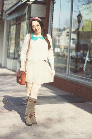 vintage sweater - Rampage boots - H&M bag - Forever 21 blouse - vintage skirt