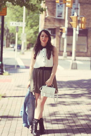 H&amp;M bag - monteau blouse - Urban Outfitters skirt