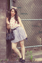 thrifted skirt - rainbow blouse - American Apparel hair accessory