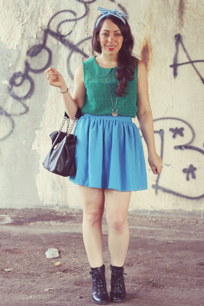 American Apparel skirt - American Apparel hair accessory - Forever 21 blouse