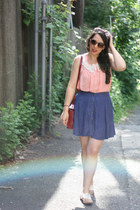 rainbow sunglasses - salmon rainbow blouse - navy Urban Outfitters skirt