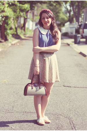 vintage bag - vintage skirt - Sugarlips top - restricted flats