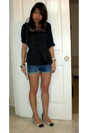 blouse - shorts - purse - Ninewest shoes