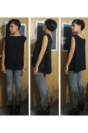black t by alexander wang t-shirt - silver Forever 21 jacket - black Forever 21