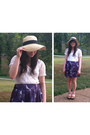 Neutral-wide-brim-hat-white-lace-top-purple-birds-skirt