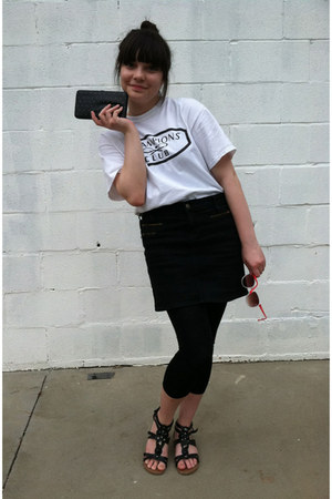 black denim skirt - white champions club t-shirt