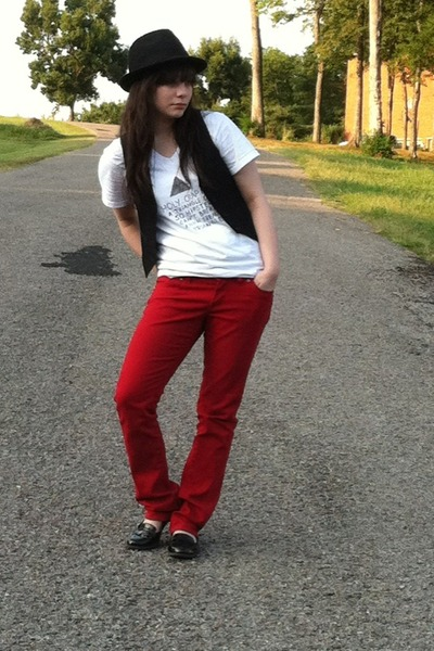 White Not My Idea Ts, Shirts, Ruby Red Jeans, Black Vests ...