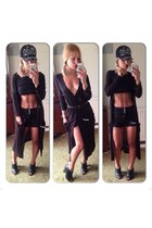 black leather Topshop boots - black asos hat - black jeans Miss Selfridge shorts