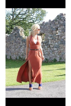 burnt orange new look dress - blue River Island boots