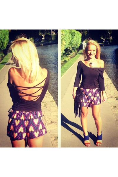 black fringe asos bag - purple River Island shorts - black River Island top