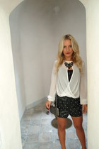 Top Shop blouse - Crafted bag - romwe shorts